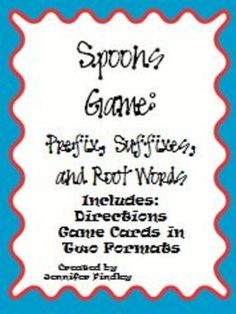 FREEBIE...Spoons Game~~ Check it out!Modeled after the popular card game, this is a Spoons Game for prefixes, suffixes, and root words. In...