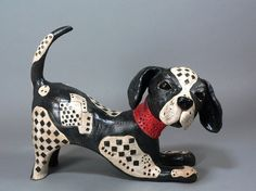 Playful Ceramic Dog Sculpture  CrissCross The by ClayCompanions