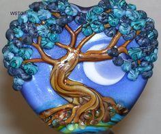 WSTGA~LILAC MOON~FLORAL SPRING TREE handmade lampwork glass bead focal SRA