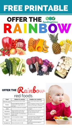 When serving veggies and fruits to babies, toddlers and young eaters - think color! Rainbow Food, Eat The Rainbow, Rainbow Print, Baby Led Weaning, Toddler Meals, Kids Meals, Toddler Food, Baby Meals, Toddler Stuff