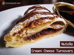 puff pastry 4 oz. cream cheese, softened 1/2 cup Nutella  For Egg Wash: 1 egg, beaten 1 Tbsp. water  For garnish: Powdered sugar Extra Nutel...