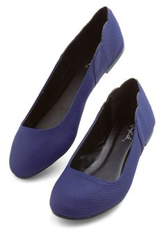 Dare to Delight Flat - Flat, Faux Leather, Blue, Solid, Scallops, Work, Casual, Good