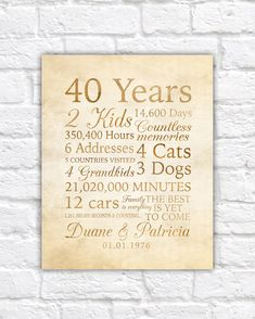 40 Year Anniversary, 40th Anniversary Gift for Parents, Grandparents, Non Traditional Gift, Meaningful, In Laws, Family Quotes | WF49 by WanderingFables on Etsy https://www.etsy.com/listing/251407196/40-year-anniversary-40th-anniversary