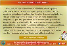 MISIONEROS DE LA PALABRA DIVINA: REFLEXIÓN - SAL DE LA TIERRA Y LUZ DEL MUNDO