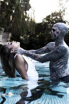 #zombieboy, #zombie, #rick genest, #swimming pool, #fashion, #mode, #tattoo,