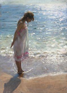 Spanish Artist, Spanish Painter, Vicente Romero Redondo, Figurative, Figurative Painter, Paintings, woman paintings, Nude, Oil paintings, famous artist,