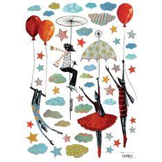 Ces stickers de la collection by Manuela Magni pour Lilipinso permettent d'agrémenter une décoration de chambre d'enfant et d'habiller les murs, les meubles ou encore une porte.