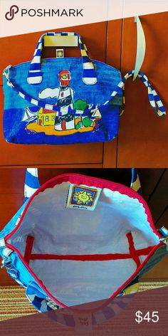 """29✂Lighthouse Cute Colorful Small Bag Purse ⏩Bought this on vacation, only worn 2 times ⏩Chic, the color is so vibrant & adorable ⏩100% cotton, so durable and yet so lovely ⏩Zipper top closure, dual handles ⏩DETACHABLE strap ⏩Fully lined with water-proof, stain-proof, beautiful white plastic like material ⏩Highly versatile! Can be carried by the handle or worn as crossbody ⏩In great condition with no flaws at all  Size (apx) 13"""" x 8.5"""" 3"""" handle 21"""" strap drop Bags Satchels"""