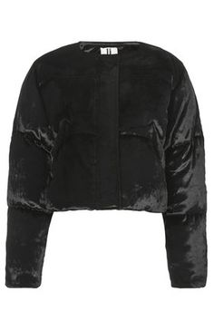 **Velvet Cropped Puffa Jacket by Unique