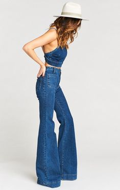 Farrah Trouser Flare Long Downpour - Flare Jeans for women - Ideas of Flare Jeans for women - Farrah Trouser Flare Long Downpour 70s Inspired Fashion, 70s Fashion, Vintage Fashion, Fashion Outfits, Womens Fashion, Hippie Fashion, Ladies Fashion, Fashion Styles, Fashion Brands