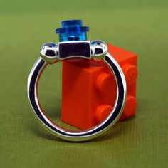 Lego Ring  Interchangeable Bricks  Sterling Silver by UBrickIt, $75.00 etsy /recyclecreate