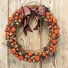 "Festive Fall Wreath Ideas: ""Pumpkin"" and Acorn Fall Wreath"