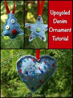 These upcycled ornaments are cute for any occasion, not just Christmas, and are made from recycled denim.  They are a great craft to repurpose old blue jeans.