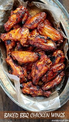 First, the wings are baked on convection until super crispy, then coated in BBQ sauce and baked some more. The end result is sticky and addictive baked chicken wings that you can't have enough of. Baked Bbq Chicken Wings, Baked Chicken Recipes, Chicken Wing Marinade, Chicken Wing Sauces, Bbq Wings Recipe Oven, Baked Wings Recipe, Oven Wings, Sticky Wings Recipe, Wings In The Oven