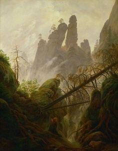 Mountain Landscape (Felsenlandschaft im Elbsandsteingebirge), 1822-23, by Caspar David Friedrich