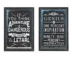 Set de 2 carteles metálicos – blanco y negro