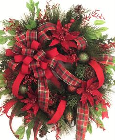 Luxury Traditional Christmas Door or Wall by ForAllSeasonsFlorals