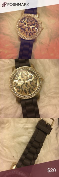 Charming Charlie Cheetah Print Watch Beautiful cheetah print and rhinestone watch with large face! The band is a rubber-like material that's really comfy on and looks really nice! NOTE: Needs new batteries! Charming Charlie Accessories Watches