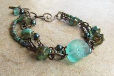 Beachy multi strand bracelet with Czech by WorldOfSquirrelCraft