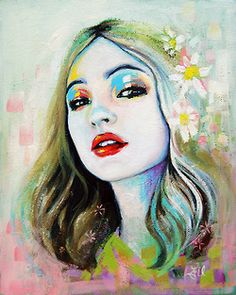 By Emma Uber. Love the use of colour in this - particularly around the eyes. Also love the brushwork to form the background.