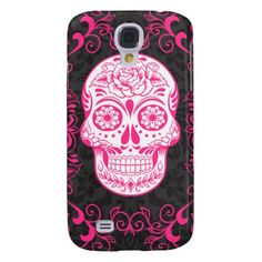 Hot Pink Black Sugar Skull Roses Gothic Grunge Samsung Galaxy S4 Cases #PinkAndBlackObsession