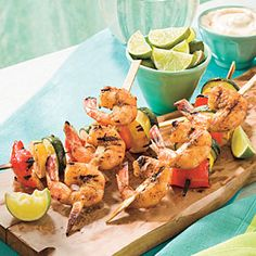 Spicy Glazed Shrimp and Vegetable Kabobs featured in Southern Living magazine