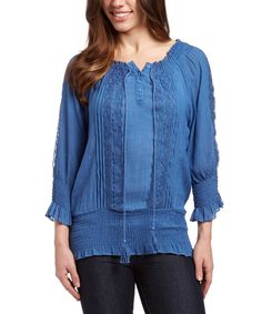 Another great find on #zulily! Sky Blue Embroidered Peasant Top by Nancy Yang #zulilyfinds