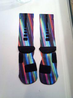 Custom Nike Elite Socks Bright Lights Big City by LeagueReady, $25.00
