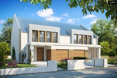 A modern semi-detached development with a simple body of the building, a garage and glazings. Townhouse Designs, Duplex House Design, Townhouse Exterior, Building A Garage, Modern Architecture House, Semi Detached, Home Fashion, Exterior Colors, House Styles
