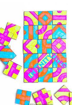 Math Game Idea: Infinity Tiles - Babble Dabble Do Math For Kids, Fun Math, Math Games, Gym Games, Stem Activities, Activities For Kids, Iq Puzzle, Math Projects, Math Art