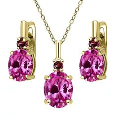 7.29 Ct Pink Created Sapphire Red Rhodolite Garnet 18K Yellow Gold Plated Silver Pendant Earrings Set
