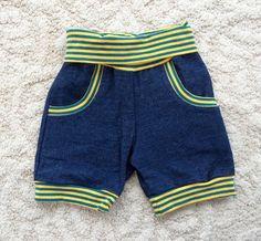 Handmade fun shorts denim yellow petrol by NoNiMadewithlove