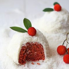 Natural Red Velvet Cake: Looking for an all-natural way to achieve bright reds in your baking this holiday? The secret dye? Beets, of course! Give this natural red velvet cake a shot.  25 Bite-Sized Holiday Sweets via Brit + Co.
