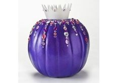 purple and rhinestone FolkArt Princess Pumpkin - No carving ideas for #halloween decor -  with FolkArt Paints #plaidcrafts by addie