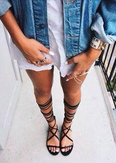 denim + white + strappy sandals #missguided