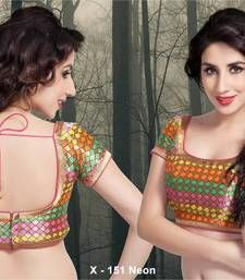 A blouse to go on every occasion and any type of saree. Simple shiny zari woven multi colored blouse with zari hems will look classy with any type of saree.