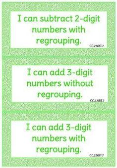 """Set of 81 color-coded """"I can"""" statement signs for 2nd grade Common Core math."""