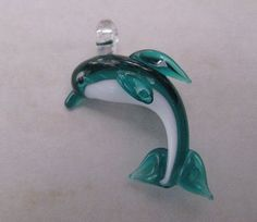 Glass Lampwork Dolphin Pendant by JeansBeads on Etsy