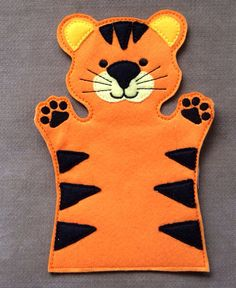 Tiger Jungle Animal Hand Puppet Adult OR Kid by ThatsSewPersonal