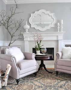 PAINT: Valspar called Seafoam Storm which is a really gorgeous medium gray blue living rm furniture could be pulled in front of fireplace in spring/ summer and fall. then separate them in winter when actually use the fireplace. Wall Paint Colors, Interior Paint Colors, Room Paint, Room Colors, House Colors, Valspar Grey Paint Colors, Valspar Blue, Fixer Upper Paint Colors, My Living Room