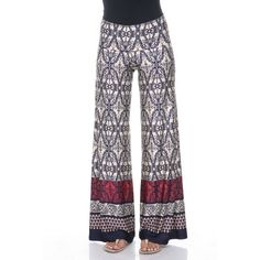 Women's White Mark Printed Palazzo Pants ($22) ❤ liked on Polyvore featuring pants, wide leg patterned pants, white wide leg pants, colorful palazzo pants, wide leg palazzo pants and print pants