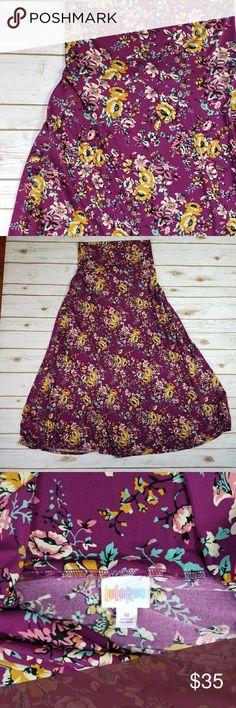 LulaRoe maxi skirt LulaRoe maxi skirt- purple with floral design Excellent used condition Size: medium LuLaRoe Skirts Maxi
