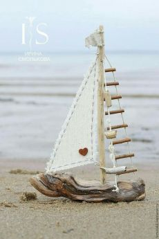 a small boat design by Irina Smol & kova. My Livemaster.Beige, …, The post Kindergarten handmade. a small boat design by Irina Smol'kova. My live master.Beige, … appeared first on Woman Casual. Driftwood Projects, Driftwood Art, Wood Crafts That Sell, Deco Nature, Boat Design, Design Design, Beach Crafts, Seashell Crafts, Small Boats