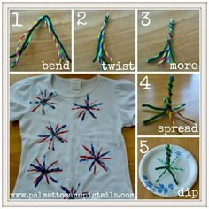 Awesome easy and fun craft for the 4th! Fireworks Print Step By Step