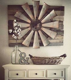 Vintage Farmhouse Decor Over-sized Windmill and Barn Wood Wall Clock More - There are many rustic wall decor ideas that can make your home truly unique. Not sure where to start? Browse through the best designs! Diy Home Decor Rustic, Country Farmhouse Decor, Easy Home Decor, Cheap Home Decor, Farmhouse Chic, Country Living, Farmhouse Ideas, Farmhouse Design, Farmhouse Interior