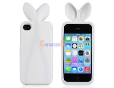 3D Rabbit Design Silicone Protective Case for iPhone 4S/4 (White)