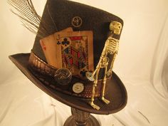 STEAMPUNK TOP HAT mens brown felt  with peacock by EmilyWayHats, $89.00