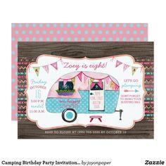 Camping Birthday Party Invitation - Girl Glamping