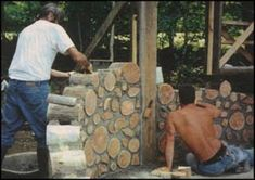 This CORDWOOD style of building is one that I really like.  It would take longer, but would be more permanent