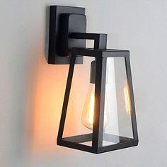 Hahaemall Support de lampe industriel Vintage Edison en acier inoxydable Art antique Applique murale Abat-jour en verre (Ampoule non incluse)